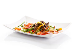 Roasted meat and vegetables Stock Photography