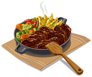 Roasted meat and vegetables. Illustration of roasted meat and vegetables Royalty Free Stock Image