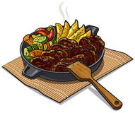 Roasted meat and vegetables. Illustration of roasted meat and vegetables in pan Royalty Free Stock Photo