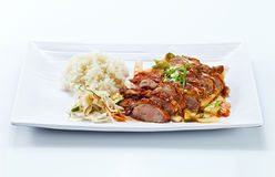 Roasted meat with vegetables .  Korean cuisine. Stock Photography