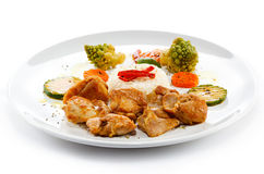 Roasted meat, white rice and vegetables Royalty Free Stock Photo