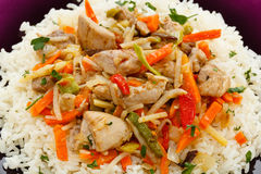 Roasted meat, white rice and vegetables Stock Photo