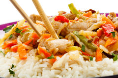 Roasted meat, white rice and vegetables Royalty Free Stock Photography
