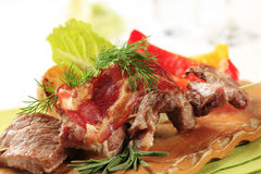 Roasted meat on wooden skewer Royalty Free Stock Photography