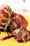 Roasted meat on wooden skewer Royalty Free Stock Images