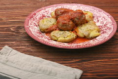 Roasted meatballs with mashed potatoes Stock Images