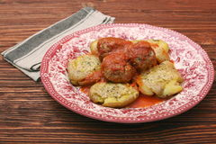 Roasted meatballs with mashed potatoes Royalty Free Stock Image
