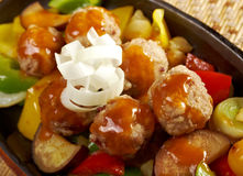 Roasted meatballs and vegetables Royalty Free Stock Photo
