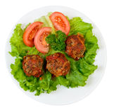Roasted meatballs and vegetables Royalty Free Stock Images