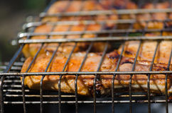 Roasted meet during cooking on the mesh Stock Images