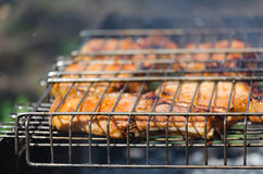 Roasted meet during cooking on the mesh Royalty Free Stock Images