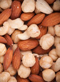 Roasted mixed nuts macro Royalty Free Stock Photos