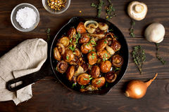Roasted mushrooms with onion Stock Images
