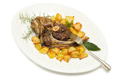 Roasted mutton and potatoes Royalty Free Stock Photo