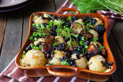 Roasted new potatoes with mushroom assorted Royalty Free Stock Photos