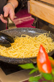 Roasted noodles with olive oil Royalty Free Stock Photos