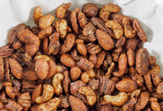 Roasted nuts mix  on paper napkin Stock Photography