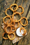 Roasted onion rings with sauce Stock Image