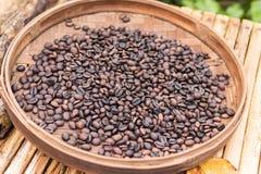 Roasted organic arabica coffee beans. Tropical exotic Bali island, Indonesia. Authentic bali coffee on a coffee. Roasted coffee beans, can be used as a Stock Photo