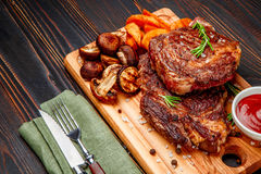 Roasted organic shin of beef meat Stock Photos
