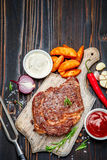 Roasted organic shin of beef meat Royalty Free Stock Images