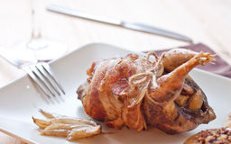 Roasted partridge stuffed with apples Royalty Free Stock Image