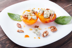 Free Roasted Peaches With Dorblu Cheese Royalty Free Stock Photos - 43591288