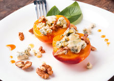 Free Roasted Peaches With Dorblu Cheese Royalty Free Stock Images - 43591289