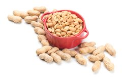 Roasted peanuts isolated on white royalty free stock photo