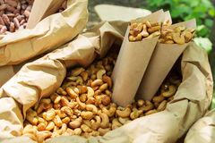 Roasted peanuts in paper envelope. Roasted almonds, pine nuts, hazelnuts, cashews and peanuts in sugar syrup with different tastes in paper envelope at festival Royalty Free Stock Photo