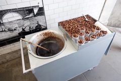 Roasted peanuts for sale under london blackfriars bridge. Without vendor stock photo