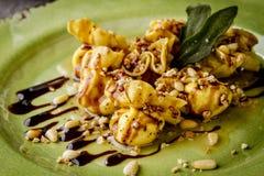 Roasted Pear and Mascarpone Pasta Purses Royalty Free Stock Photo