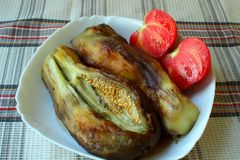 Roasted and peeled eggplant Royalty Free Stock Photography