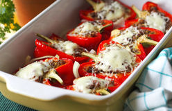 Roasted pepper with minced meat and chees Royalty Free Stock Image