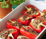 Roasted pepper with minced meat. Homemade food in the ceramic roaster Stock Photography