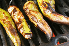 Roasted Peppers. Roasted and charred peppers on grill Stock Image