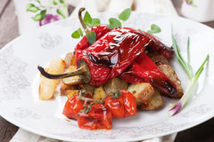 Roasted peppers and vegetable Stock Photo