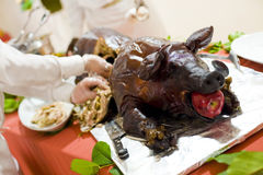 Roasted pig. Iwth an apple in its mouth Stock Images