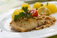 Roasted pikeperch fillet with boiled potatoes Royalty Free Stock Images