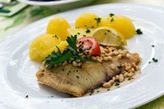Roasted pikeperch fillet with boiled potatoes Royalty Free Stock Photo