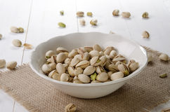 Roasted pistachio in a white bowl Royalty Free Stock Image