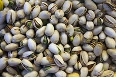 Roasted pistachios, natural product on the market royalty free stock photography