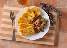 Roasted polenta in the pot Royalty Free Stock Images