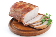 Roasted pork. Loin isolated on white background stock photos