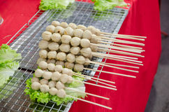 Roasted pork balls. With sweet spicy sauce Stock Images