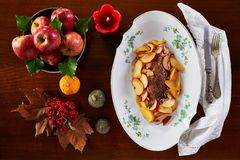 Roasted Pork Fillet With Apples stock photography