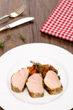 Roasted pork fillet in vertical format Stock Image