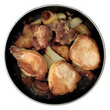 Roasted pork on frying-pan Stock Photos