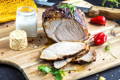 Roasted pork with herb Royalty Free Stock Photography
