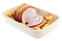 Roasted Pork Joint with Potatoes Stock Images